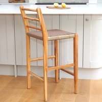 Wooden Bar Stool With Macrame Seat