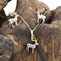 Stag Earrings, Necklace Set Silver And 18ct Gold, Silver