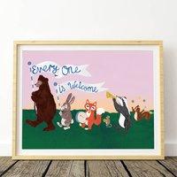 Woodland Animal Parade Art Print