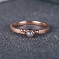9ct Rose Gold Seeded Engagement Ring With Grey Diamond, Gold