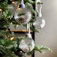 Quail Feather Filled Glass Bauble