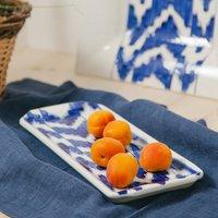 Blue Ikat Rectangular Serving Platter