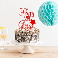 Personalised Happy Birthday With Star Cake Topper