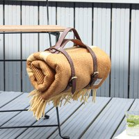 Mustard Stripe Wool Picnic Blanket Leather Straps