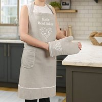 Personalised Star Baker Apron And Oven Mitt Gift Set