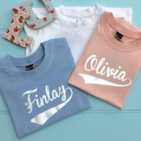 Baby Foil Personalised Name T Shirts, Baby Blue/Blue/Baby Pink