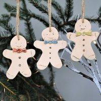 Set Of Three Gingerbread Man Christmas Tree Decoration
