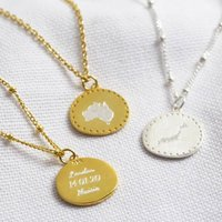Personalised Sterling Engraved Destination Necklace