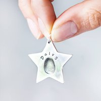 Personalised Fingerprint Silver Star Decoration, Silver