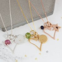 Personalised Open Heart Necklace With Birthstones