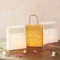 Personalised Wedding Paper Lantern Bags, Cream/White/Gold