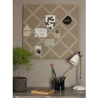 Notice Board With Cream/Grey Or Beige Ribbons, Grey/Linen
