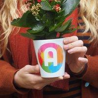 Rainbow Brush Strokes Initial Plant Pot