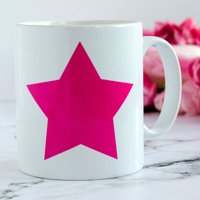 Personalised Star Mug, Pink/Red/Blue