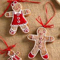 Set Of Gingerbread Man Christmas Tree Decorations
