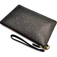 Dark Paisley Leather Clutch Bag