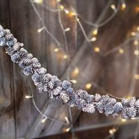 White Washed Larch Pine Cone Garland