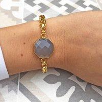 Vintage Style Boho Statement Bracelet Grey Chalcedony