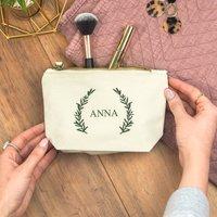 Personalised Olive Leaf Make Up Bag, Khaki/Green/Gold