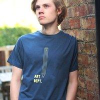 Pencil Graphic T Shirt: Art Dept, Grey/Denim Blue/Denim