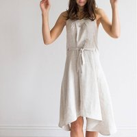 Oatmeal Linen Wrap Dress