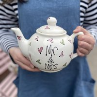 Personalised Hand Painted Mr And Mrs Heart Teapot