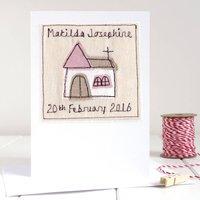 Personalised Girls Christening Card, Pink