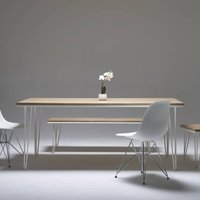 Whitewashed Oak Dining Table With Choice Of Steel Legs