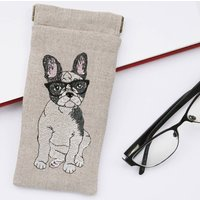 Embroidered French Bulldog Glasses Case