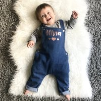 Personalised Name With Hearts Baby Denim Dungarees