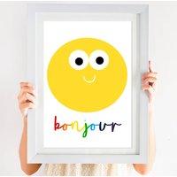 Happy Smiley Face Bonjour Hello Print