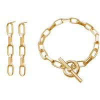 Gold Chunky Chain Link Bracelet And Earrings Set, Gold