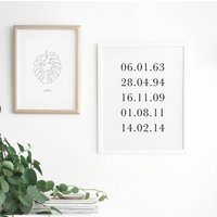 Simple Personalised Memorable Dates Print