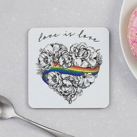 Love Is Love Single Coaster, Gay Pride Supporting Lgbt