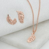 Rose Gold Feather Jewellery Set, Gold