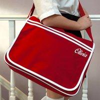 Retro School Messenger Satchel Bag, Red/White/Black