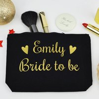 Personalised Bride Black And Gold Make Up Purse