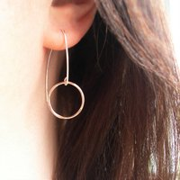 Silver And Rolled Gold Circle Earrings, Silver