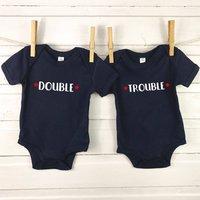 Double Trouble Baby Vest Set For Twins