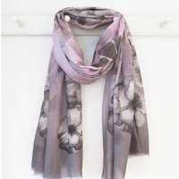 Pink And Grey Floral Print Scarf With Gift Box And Card