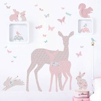 Deer, Fawn And Woodland Animals In Vintage Floral