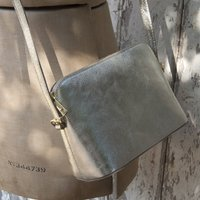 Structured Leather Crossbody Gold Or Silver Handbag