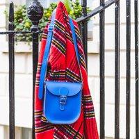 Medium Leather Satchel Shoulder Bag, Jade/Blue/Melon
