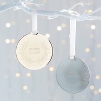 Personalised Mr And Mrs Metal Disc Wreath Decoration, Gold/Silver