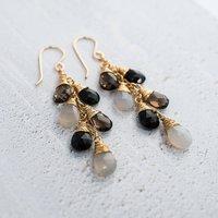 Grey Gemstone Waterfall Earrings