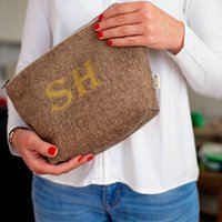 Lurex Wool Clutch Or Wash Bag With Gold Glitter Name