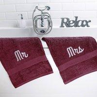 Mr And Mrs Bath Towels Set, Black/Chocolate/Vanilla