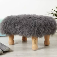 Personalised Baa Stool With Sheepskin Colour Options, Ivory/Grey/Aubergine