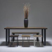 Dark Oak Dining Table With Modern Steel Legs