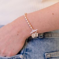 Personalised Handmade Pearl And Toggle Bracelet